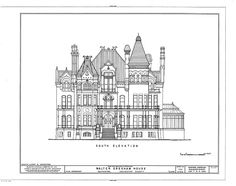 """The floor plans to the famed """"Bishops Palace"""" formally the """"Walter Gresham House"""". Floorplans for Gilded Age Mansions. American Mansions, Small Castles, Mega Mansions, Antique House, House Sketch, Modern Architects, Tower House, Gilded Age, Home Design Plans"""