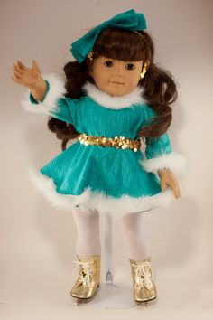 American Girl skating outfit -- elastic sequined hair bow and belt