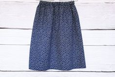 Navy Blue skirt with small white flowers, has the elastic waist, patterned cotton skirt Small White Flowers, Little Flowers, Cotton Skirt, Cotton Fabric, Flower Skirt, Navy Skirt, Summer Skirts, Casual Skirts, Floral Prints