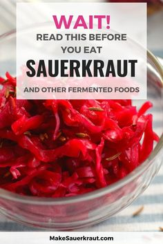 [INFOGRAPHIC] Are sauerkraut and other fermented foods good for you? Know when they are not, and how much to eat per day. Does your homemade sauerkraut taste so good that you're ready to gobble up a whole bowlful? MakeSauerkraut's infographic shows the right amount of fermented food to take daily based on your health state. #sauerkrautbenefits #howtoeatsauerkraut #guthealth Homemade Sauerkraut, Sauerkraut Recipes, Fermented Cabbage, Fermented Foods, Recipes For Beginners, Recipe Using, Vegetable Recipes, Infographic, Food Porn