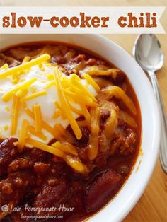 This is the one! Easy, and I don't have to get up at the break of dawn to have it ready for the game. ;) Slow-Cooker Chili