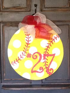 Softball door hanger by shutthefrontdoor2 on Etsy