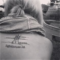 Lighthouse tattoo From tumblr (size and style just look right, exept the fonts)