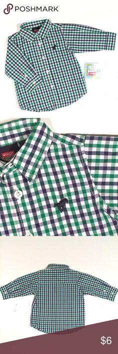 Wrangler Plaid Button-up Shirt Wrangler blue & green Plaid Button-up Shirt.  New with Tags! Wrangler Shirts & Tops