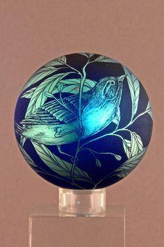 engraved weight - Orient & Flume Art Glass