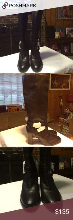 TOMMY HILFIGER  does this great boot!! In all solid black leather boots and the greatest of quality! WOW! Tommy Hilfiger Shoes Heeled Boots