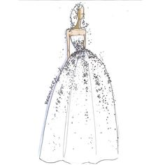 How pretty is this Reem Acra Fall 2018 Wedding Dress Sketch? Reem Acra Wedding Dress, New Wedding Dresses, Bridal Looks, Bridal Style, Bridal Collection, Dress Collection, Wedding Designs, Wedding Styles, Wedding Dress Sketches