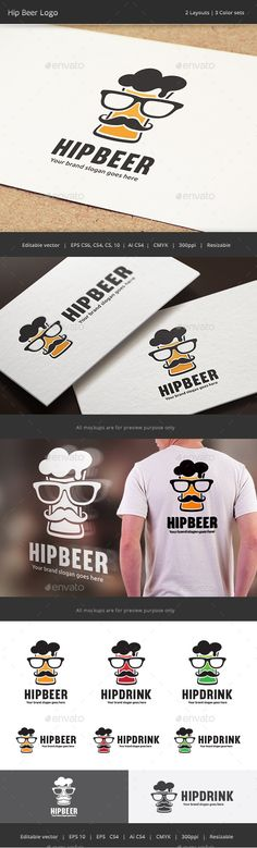 Hip Beer Drink  Logo Design Template Vector #logotype Download it here: http://graphicriver.net/item/hip-beer-drink-logo/12822939?s_rank=531?ref=nesto