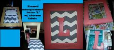 Hobby Lobby:  ~wooden unpainted frame  ~wooden letter  ~grey chevron fabric  ~foam board  ~gorilla glue & 77 all purpose spray glue  ~Coral & grey paint from Hobby Lobby  ~picture hangers  Paint the letter & frame coral. In a plastic cup, mix grey paint with some water & stir w/ paint brush. Paint the grey over the frame, let dry for a minute, use a paper towel to lightly wipe some paint off, gives a distressed look. Cover foam w/ fabric using spray glue. Glue board into frame, glue on… Paint Chevron, Chevron Fabric, Grey Chevron, Grey Paint, Cute Cheer Gifts, Framed Wooden Letters, Spray Glue, Craft Projects, Craft Ideas