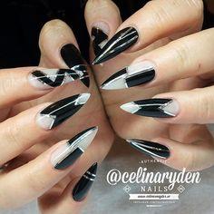 Black and Silver Colorblock Stiletto Nails.