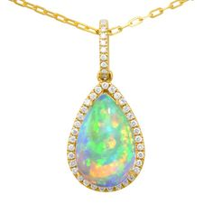 5.44CTW Crystal Opal Diamond Teardrop Pendant available at www.gemcollection.com #Gemstones #Opal #OpalPendants #CrystalOpal #CrystalOpalPendants #OpalJewelry #TallahasseeOpals #TallahasseeJewelry