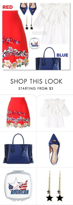 """American beauty"" by katymill ❤ liked on Polyvore featuring MSGM, Longchamp, Sam Edelman, fourthofjuly and americangirl"