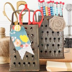 Great upcycle!  Turn Vintage Cheese Graters into organizers and magnetic memo boards for office and craft room.
