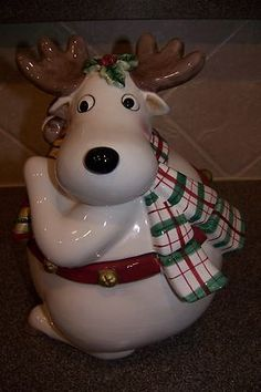 I have this sweet reindeer- I adore him! Fitz and Floyd Essentials Reindeer Holiday Christmas Cookie Jar Christmas Cookie Jars, Christmas China, Christmas Moose, Christmas Tea, Holiday Cookies, Vintage Christmas, Christmas Holidays, Antique Cookie Jars, Vintage Cookies