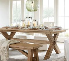 "Toscana Extending Dining Table Set #potterybarn (88.5""x40"" extends to 124.5"") in seadrift or vintage spruce finish, comes with 2 large benches"