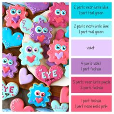 How to make Valentine's Day Love Monster icing colors - a cookie decorating icing color palette with formulas Cookie Decorating Icing, Cookie Icing, Royal Icing Cookies, Sugar Cookies, Cookies Et Biscuits, Iced Cookies, Baby Cookies, Heart Cookies, Easter Cookies