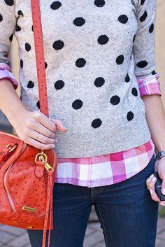 Mixed prints: dot print sweater + sherbet plaid.