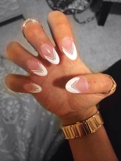 French Manicure Acrylic Nails Almond Shape Jewels