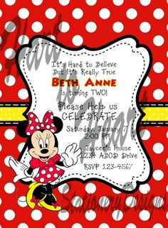 Minnie Mouse PRINTABLE Invitation and Thank You by jenniferhart627. $15.00, via Etsy.