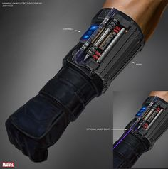 Concept art of 'Hawkeye's gauntlet with bolt shooter  for 'Captain America: Civil War' (2016)