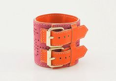 Pink and orange leather wide bracelet  cuff handmade by Vibys, $28.00