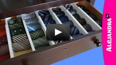 In this video I show you how to organize ties inside the dresser! While there are several ways to organize mens ties, rolling them (over hanging them in the closet) is an easy way to not only access them … Master Closet, Closet Bedroom, Closet Space, Mens Closet Organization, Organization Hacks, Bedroom Organization, Tie Storage, Closet Storage, Tie Rack
