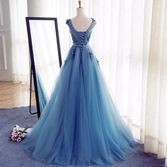 Charming Tulle Handmade Prom Dress,Long Prom Dresses,Prom Dresses,Evening Dress,