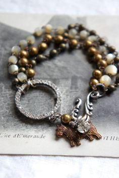 Vintage assemblage bracelet rosary chain rhinestones scottie dog charm bracelet assemblage jewelry - by French Feather Designs