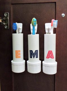 Crafting in the Rain: DIY PVC Pipe Toothbrush Holders - great for inside a cabinet