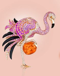 Van Cleef and Arpels - Cushion Cut Mandarin Garnet, 26.73 cts. and Pink Sapphires, Onyx, and Diamonds
