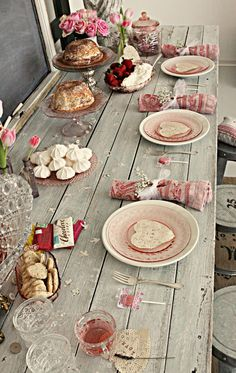 pretty pink setting on old farm table