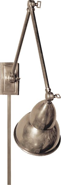 "FRENCH LIBRARY DOUBLE WALL LAMP  $315 Backplate: 2 1/2"" x 4 1/2"" Extension: 16"" - 31"" Shade: 5 1/4"" x 6 3/4"""