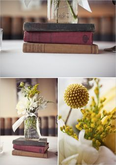 again, i like the books and jar/cup with flowers in it! nice vintage rustic feel. centerpiece idea
