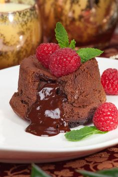 Lava Cakes with Semisweet Chocolate Chips & Raspberries