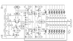 This is the circuit diagram of class AB power amplifier uses 7 pairs and transistors for the final amplification block. The circuit operated with DC symmetrical (dual pola… Electronics Projects, Electronics Basics, Hobby Electronics, Hifi Amplifier, Class D Amplifier, Radios, Electronic Circuit Design, Electronic Engineering, Ab Circuit