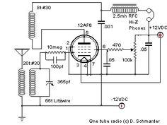 12AF6 One Tube Radio Schematic