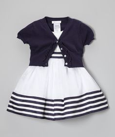 This White & Navy Stripe Dress & Cardigan - Toddler & Girls by Gerson & Gerson is perfect! #zulilyfinds