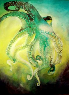 Octopus. 2009.Gouache on paper. I love octupuses (octopi?). I've always sort of wanted a tattoo of one. Maybe someday.