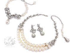 Wedding Necklace Earrings Bracelet Swarovski by PureRainDesigns, $98.00