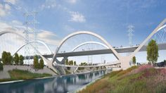Los Angeles Picks Swoopy Bridge Design to Become Sixth Street Icon Amazing Architecture, Architecture Design, Cable Stayed Bridge, Big Six, Bridge Design, Central City, Downtown Los Angeles, Googie, Screen Shot