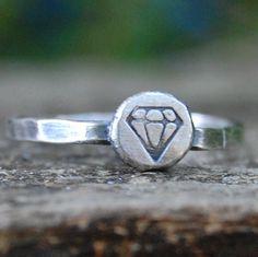 Diamond  Eco Friendly Recycled Sterling Silver   by lovestrucksoul, $20.00