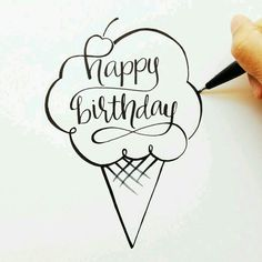 Looking for for inspiration for happy birthday typography?Check this out for perfect happy birthday inspiration.May the this special day bring you happiness. Creative Lettering, Brush Lettering, Watercolor Lettering, Karten Diy, Calligraphy Letters, Calligraphy Doodles, Chalkboard Art, Diy Cards, Homemade Cards