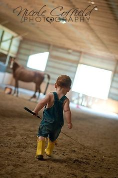 toddler photography - little country boy playing horse trainer