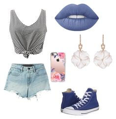 """""""All 'bout that blue"""" by maia-paulisich on Polyvore featuring WithChic, T By Alexander Wang, Converse, Lime Crime, NSR Nina Runsdorf and Casetify"""