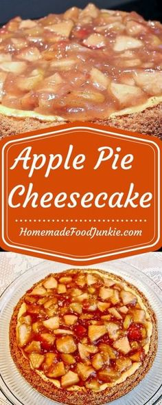 This delicious Apple Pie Cheesecake is a excellent dessert. apple pie filling sits on top of a wonderful low-fat cheesecake with graham cracker crust. Low Fat Cheesecake, Apple Pie Cheesecake, Healthy Cheesecake, Homemade Cheesecake, Cheesecake Desserts, Healthy Apple Desserts, Delicious Desserts, Dessert Recipes, Yummy Food