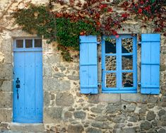 images of cottage shutters | Blue Door & Window, Shutter, Stone Cottage, Red Vines, France