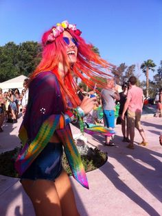 Chloe Norgaard's bohemian style mixed with bright colors and rave culture