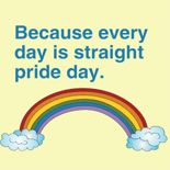 """""""Because every day is straight pride day"""" T-shirts & Gear Available from www.GlbtShirts.com /  Custom T-shirts, Poster Prints, Stickers, Hoodies, Mugs, Pet Shirts, Postcards, Buttons, Magnets, iPhone Cases, Mouse pads, Baby Tees, Hats, Posters, Magnets... everything from GAY to Z!"""