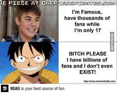 One Piece Versus Bieber