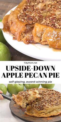 pecan pie cheesecake recipe This self-glazing, award winning Upside-Down Apple Pecan Pie is sure to please any crowd. It's an apple pie like no other! Pecan Recipes, Apple Pie Recipes, Apple Desserts, Sweet Recipes, Southern Pecan Pie Recipe, Cheesecake Recipes, Apple Pie Recipe Video, Green Apple Recipes, Best Pecan Pie Recipe